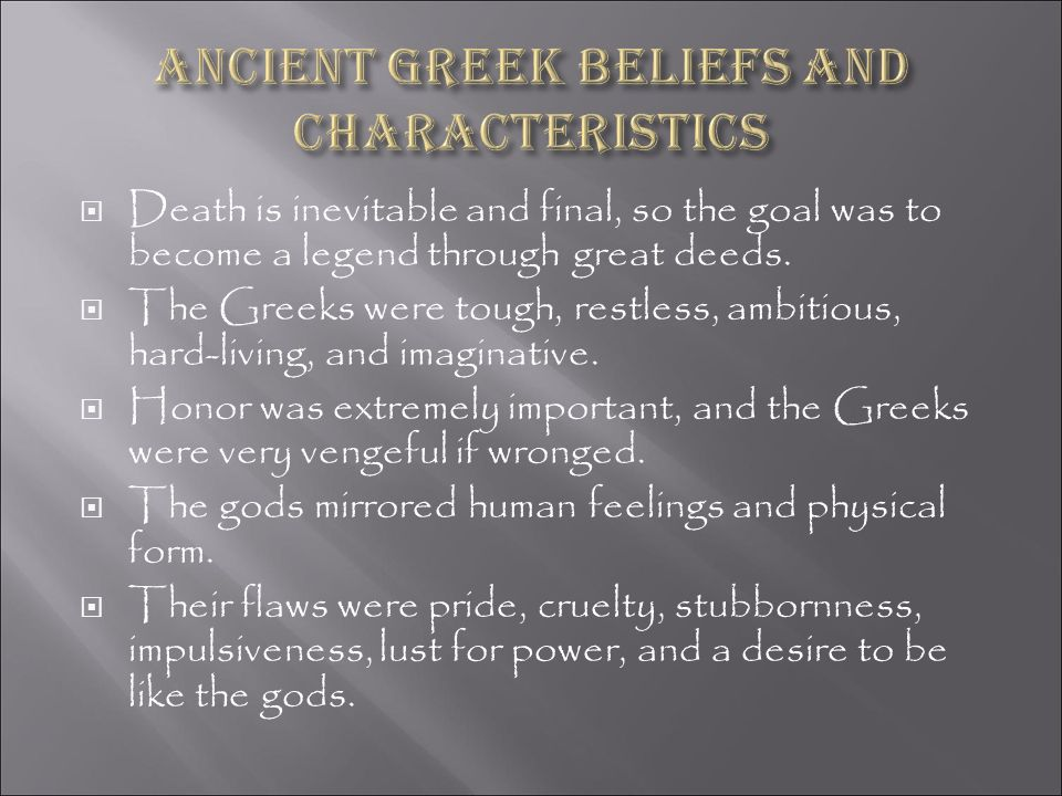 Ancient Greek beliefs and characteristics
