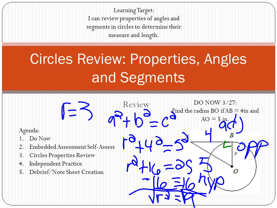 Circles Review: Properties, Angles and Segments