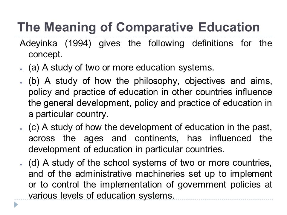 The Meaning of Comparative Education