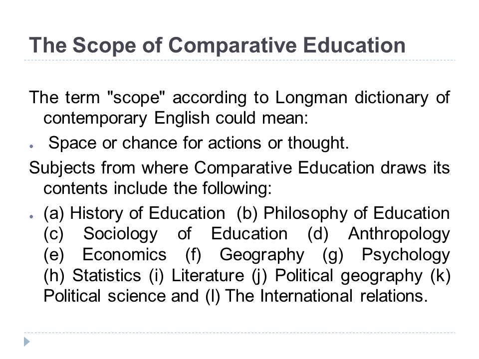 The Scope of Comparative Education