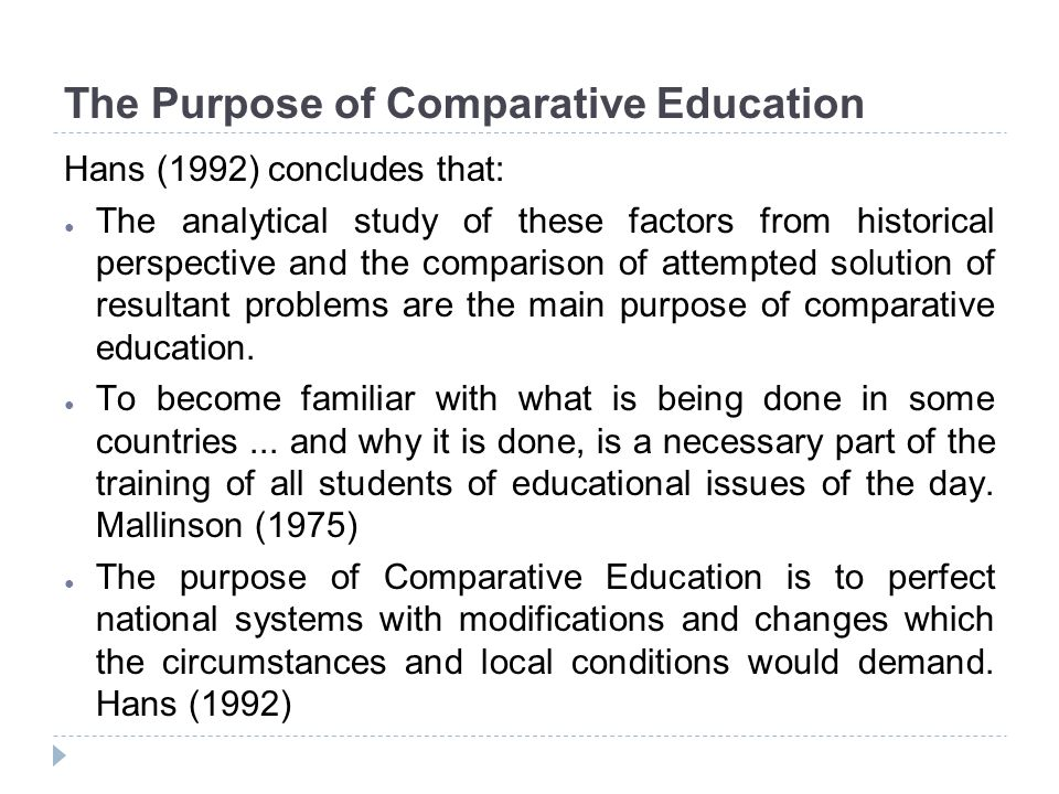 The Purpose of Comparative Education
