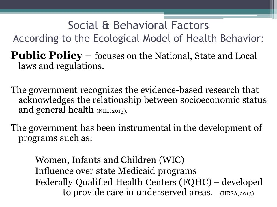 socioeconomic and government strategy influences on health Chapter4 youth health issues & socio-economic, cultural, educational and other factors affecting young people's health are examined, and reference is made to particular issues and areas of • other influences on the health of youth.