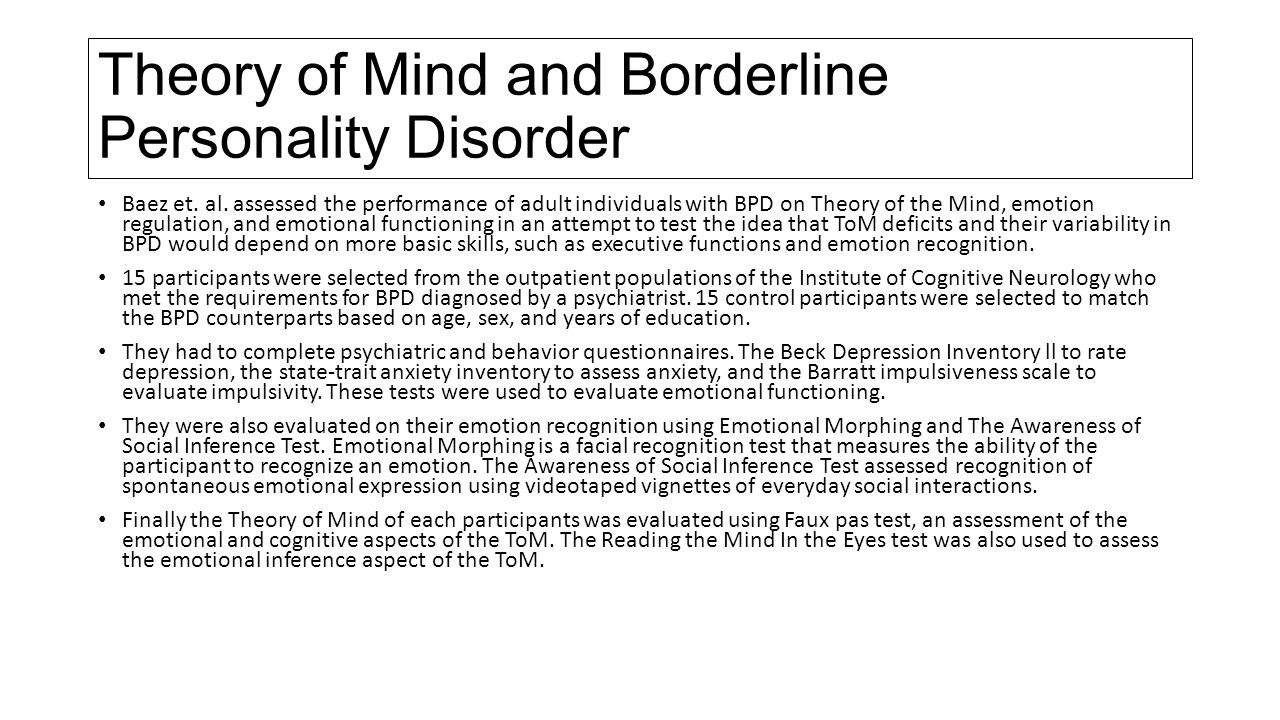 cognitive approach to borderline personality disorder Borderline personality disorder (bpd) is characterized by instability of  our  approach to selecting among treatment options for borderline  from the  borderline personality disorder study of cognitive therapy (boscot) trial.