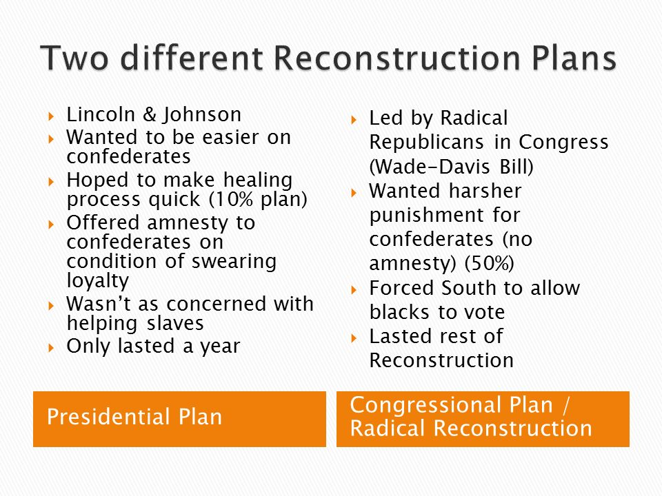 lincoln and johnson vs the radicals The radicals were upset that andrew johnson's plan, like lincoln's, failed to address the needs of former slaves in 3 areas: land, voting rights, and protection under the law.