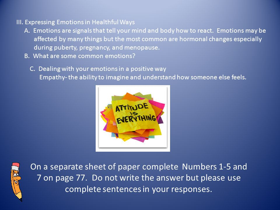 III. Expressing Emotions in Healthful Ways