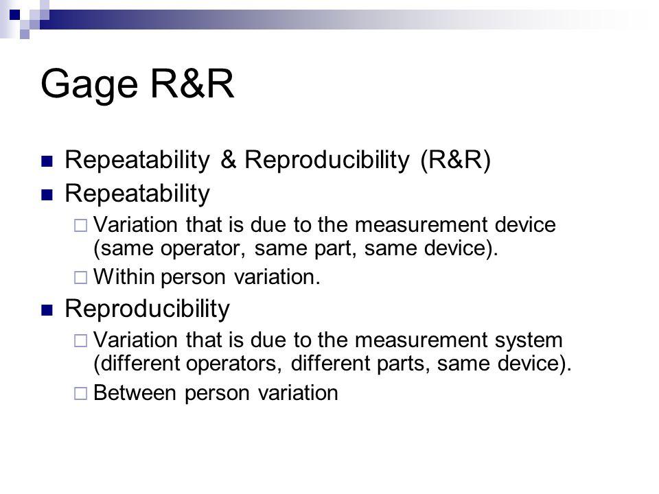 repeatability and reproducibility. gage r\u0026r repeatability \u0026 reproducibility (r\u0026r) and d