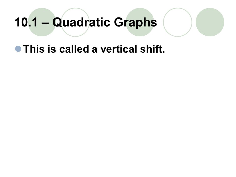 10.1 – Quadratic Graphs This is called a vertical shift.