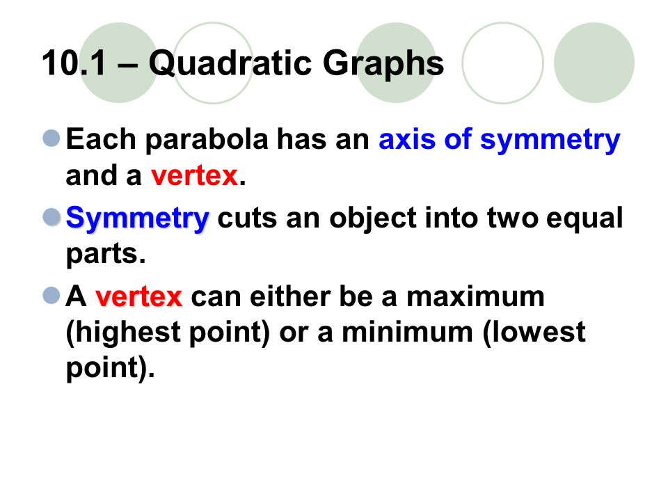 10.1 – Quadratic Graphs Each parabola has an axis of symmetry and a vertex. Symmetry cuts an object into two equal parts.