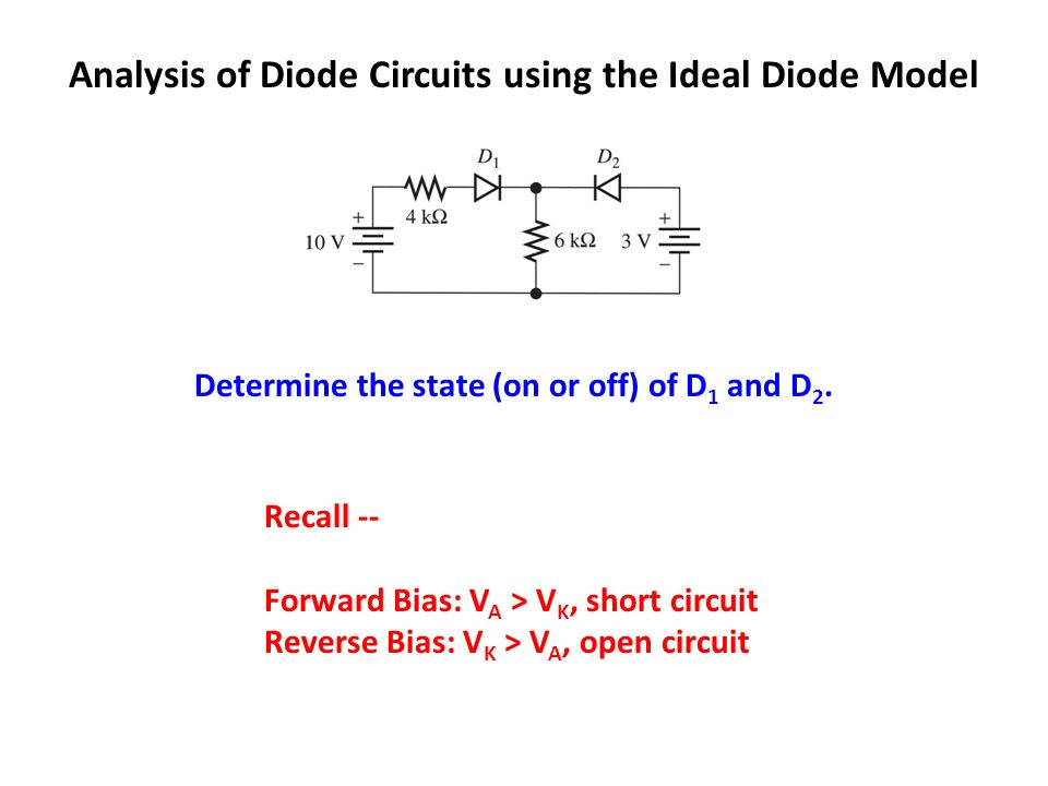 Analysis Of Diode Circuits Using The Ideal Diode Model Ppt Video