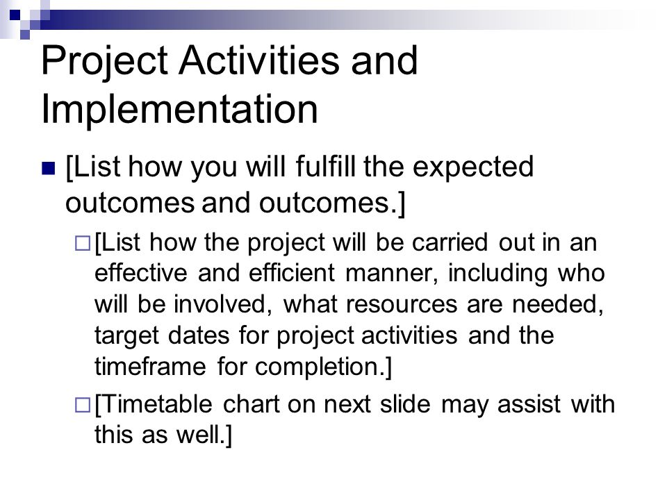 Project Activities and Implementation