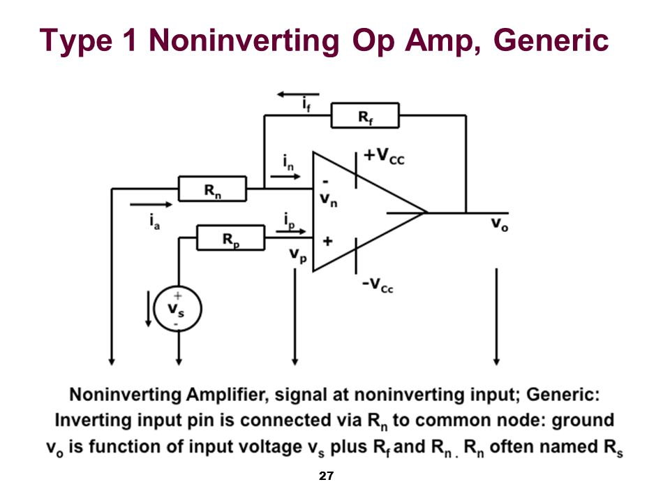 Non inverting op amp transfer function