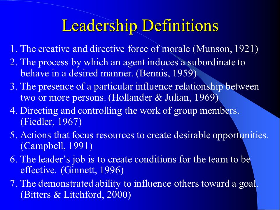 leadership definitions Leadership is not about personality it's about behavior—an observable set of  skills and abilities and when we first set out to discover what great leaders.