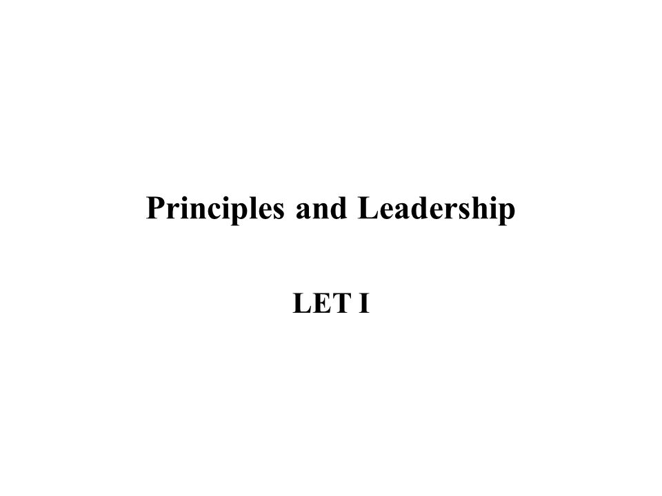 Principles and Leadership