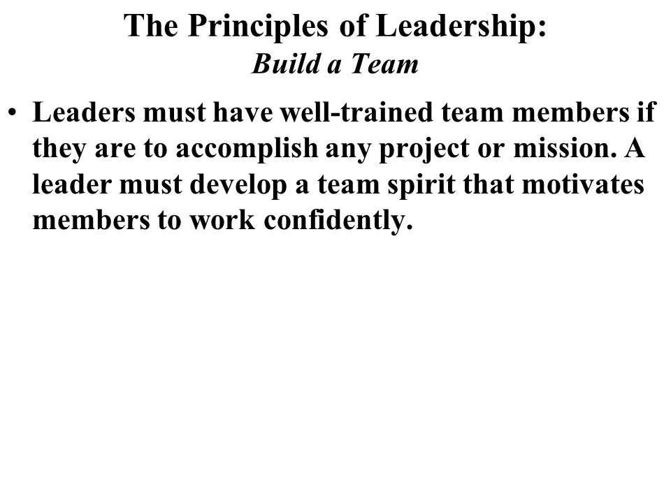 The Principles of Leadership: Build a Team