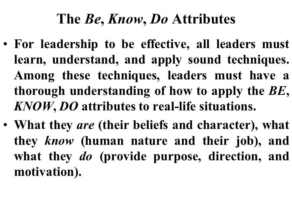 The Be, Know, Do Attributes