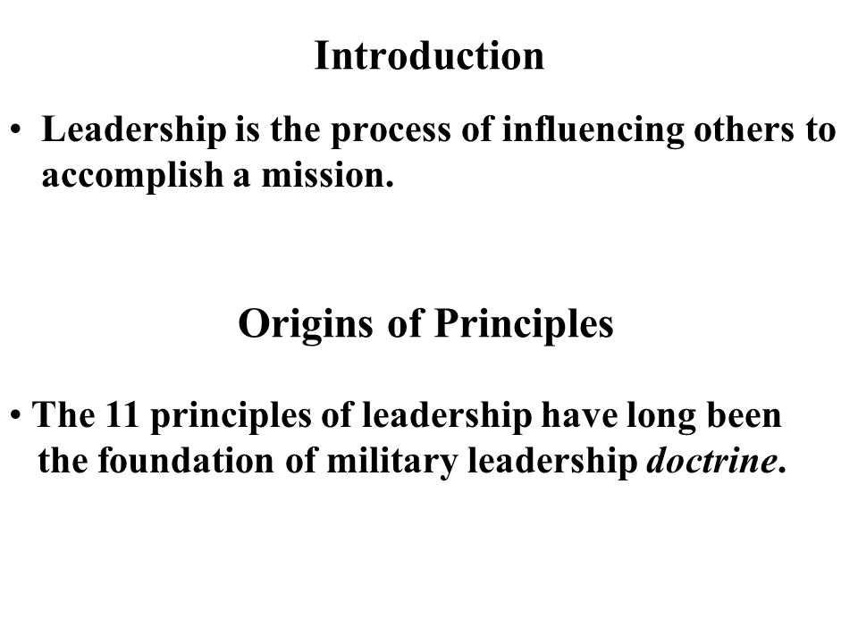 Introduction Origins of Principles
