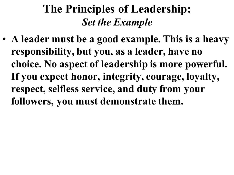 The Principles of Leadership: Set the Example