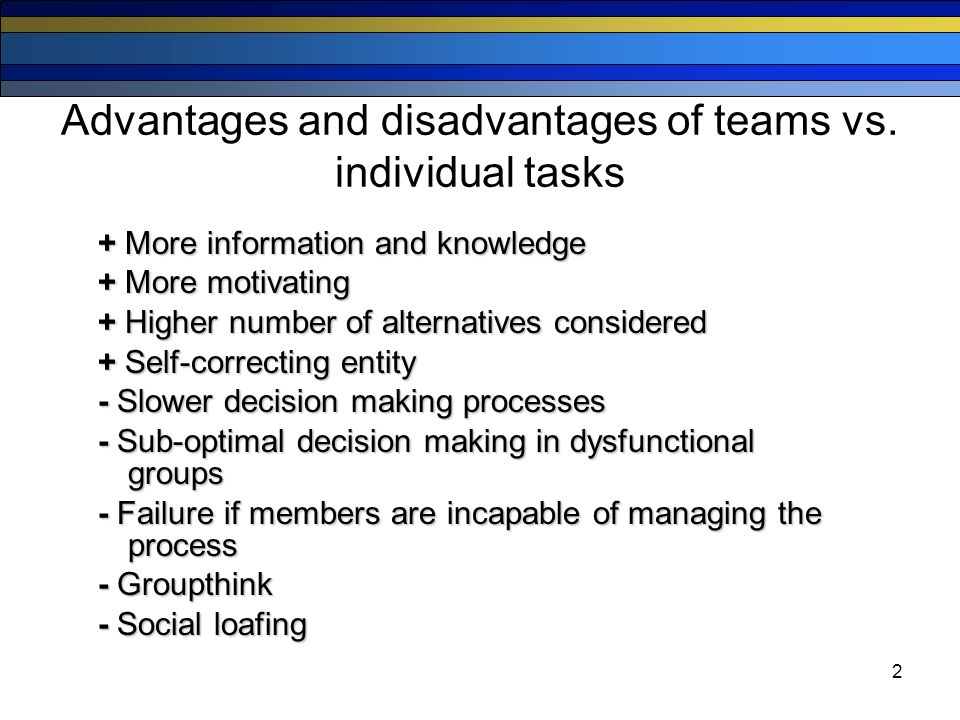 the advantages and disadvantages of collaboration in the workplace Learn what collaboration in the workplace is and some of the many benefits that it can offer to both employees and companies find out some the company and employees benefit from collaboration because as a result of sharing ideas and working together, they see how others think, negotiate and operate this gives.