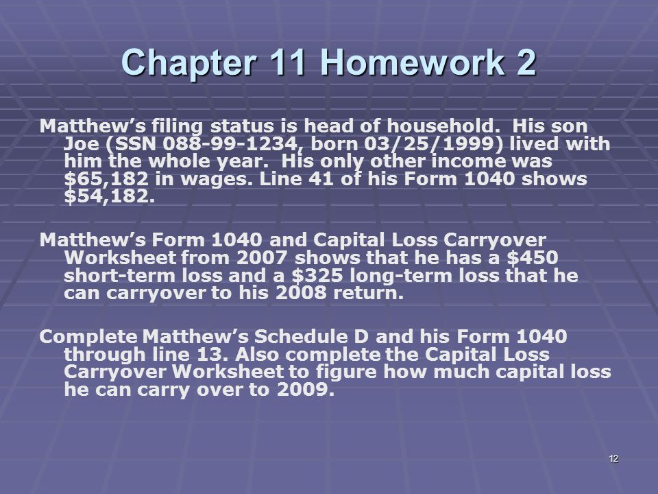 Liberty Tax Service Online Basic Income Tax Course Lesson ppt – Capital Loss Carryover Worksheet