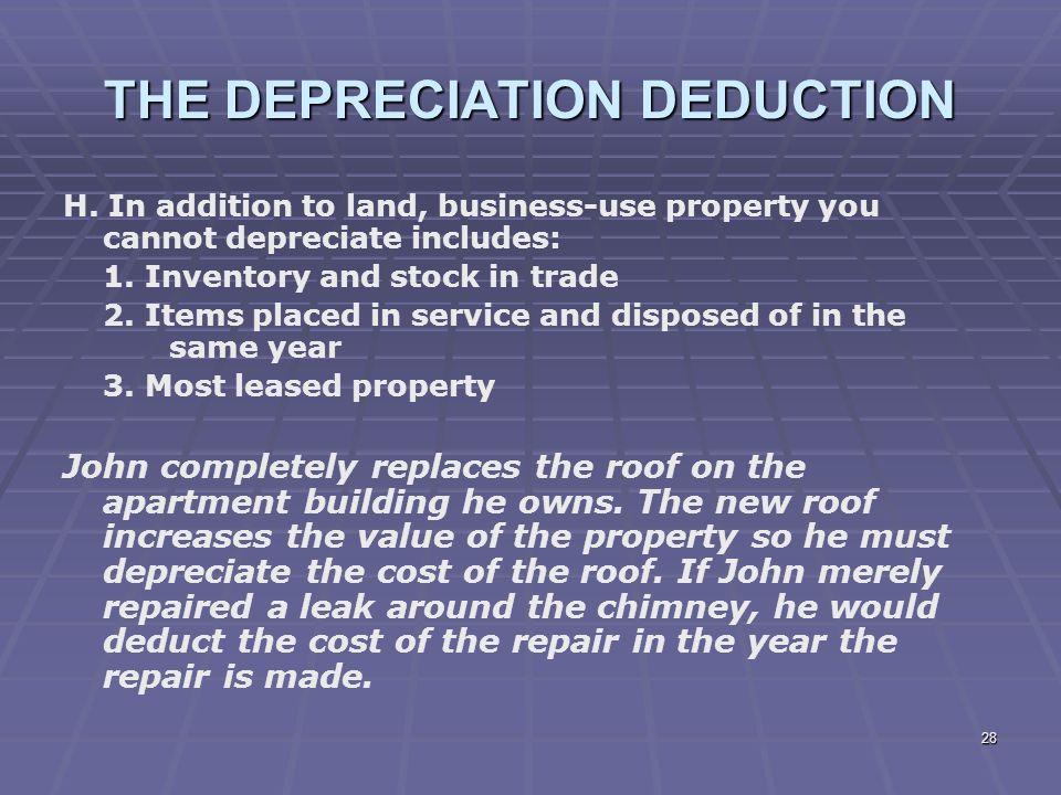 THE DEPRECIATION DEDUCTION