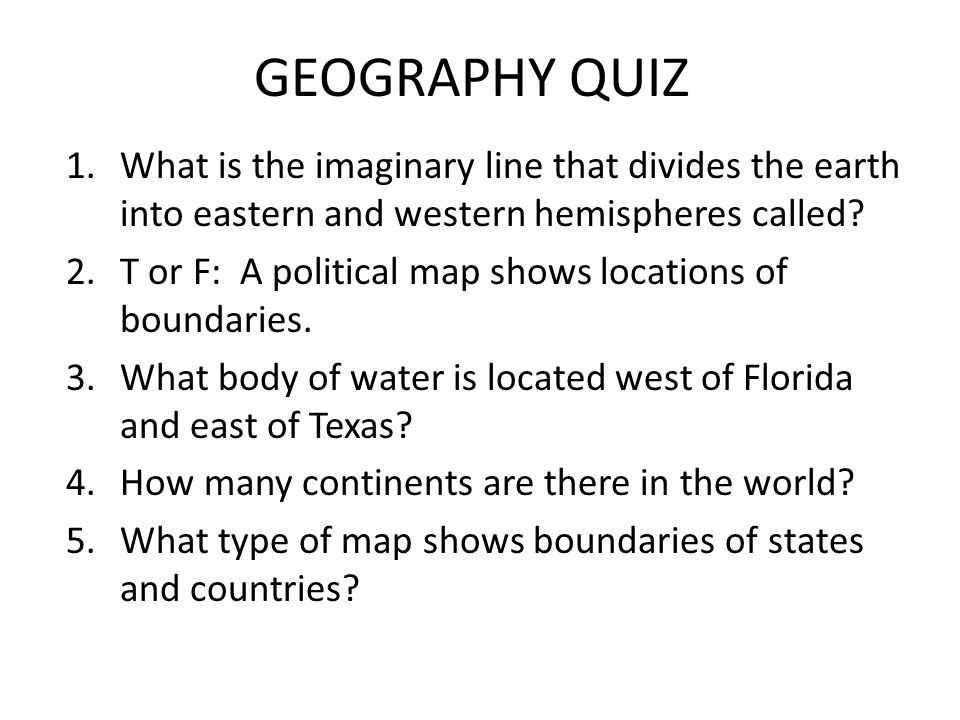 GEOGRAPHY QUIZ What Is The Imaginary Line That Divides The Earth - Geography quiz