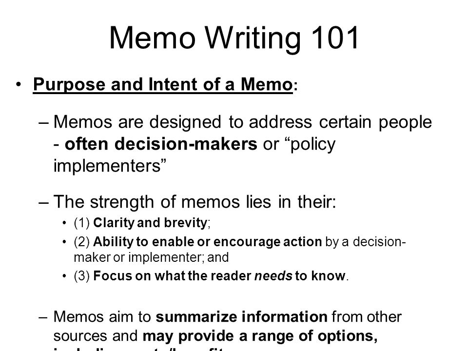 Introduction To Professional Memo Writing - Ppt Video Online Download