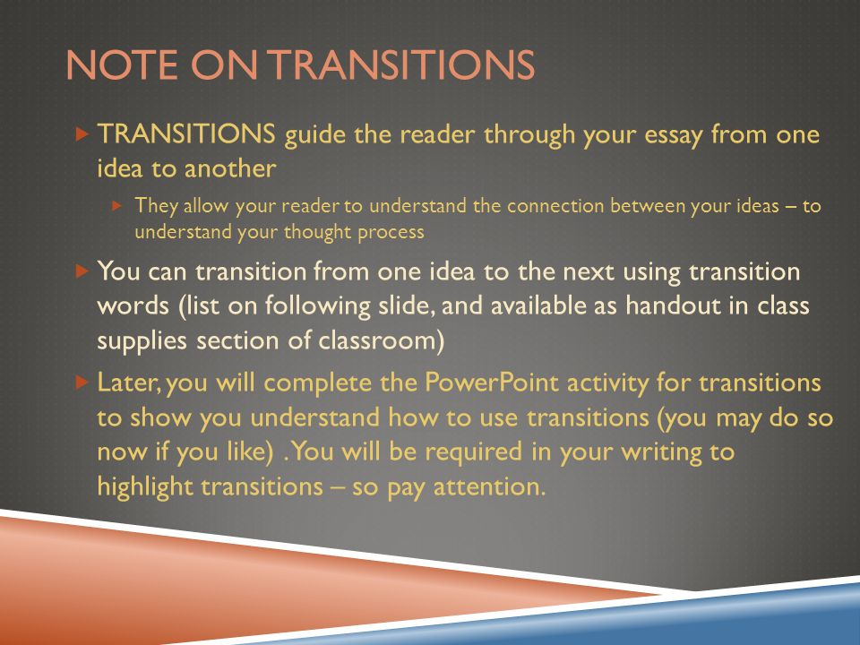 transitions in essays powerpoint