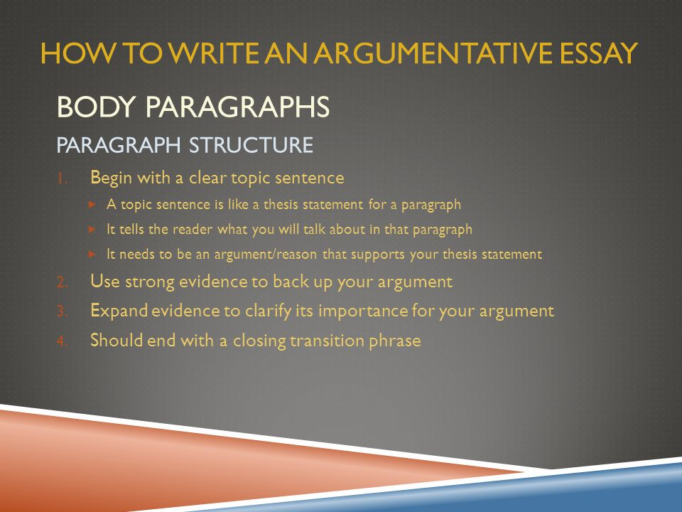 How to write a argumentative essay