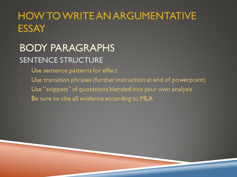 elements of an argumentative essay powerpoint