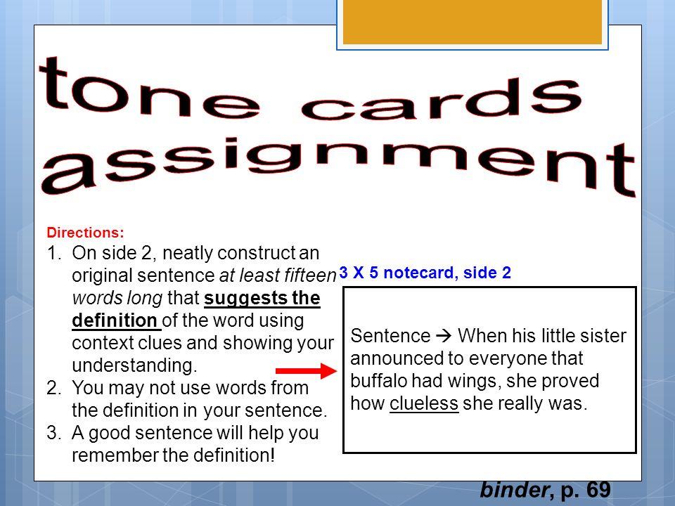 tone cards assignment binder, p. 69
