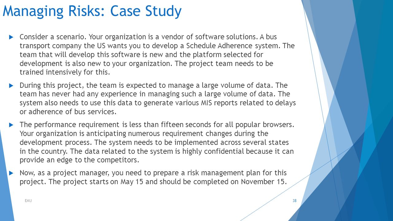 risk management case study questions View acme corporation – case study from project ma cs551 at ucla acme corporation – case study was the document given to the sponsor a risk management plan.