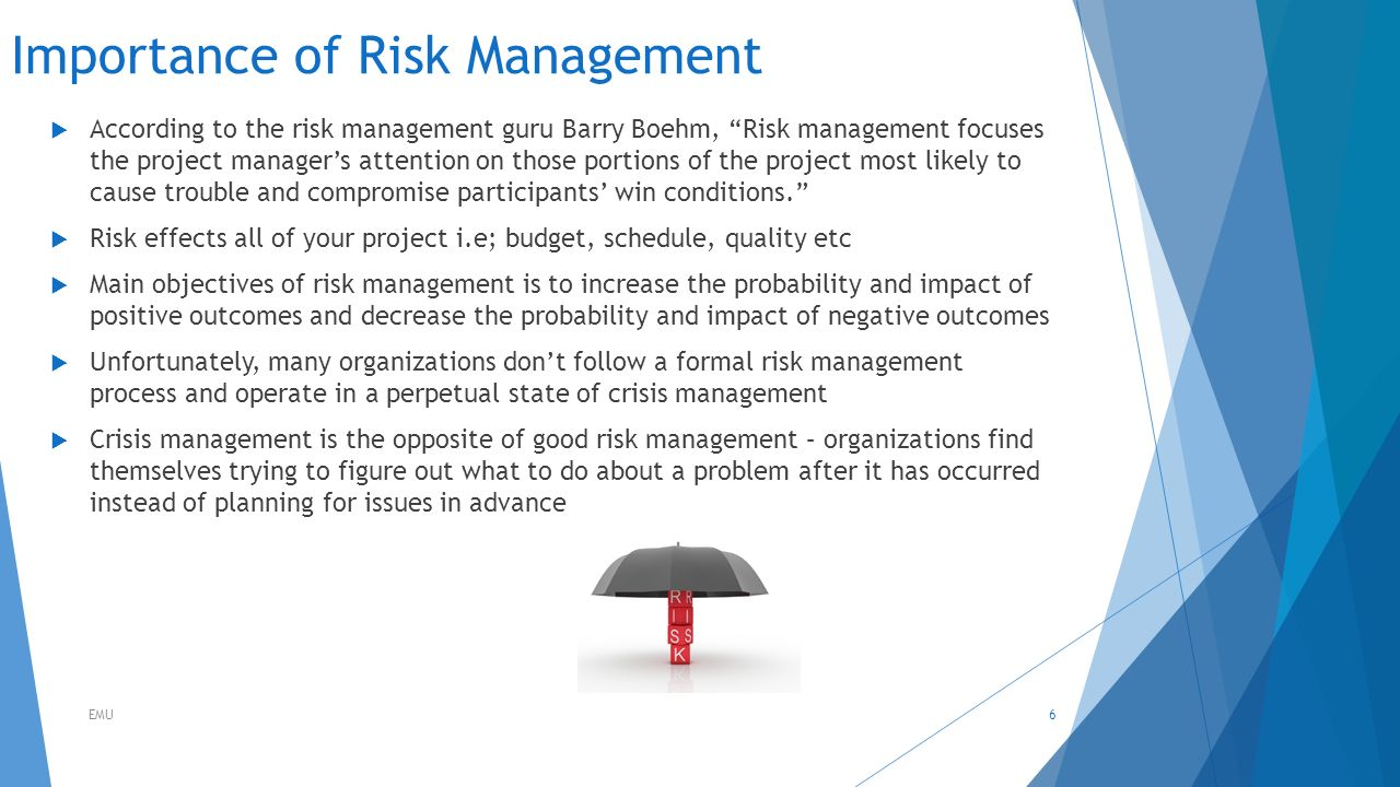 role of risk management in managing Administration & risk management the property manager is the owner's partner in maximizing the return on investment of the property through the efficient performance of these four functional areas of responsibility.