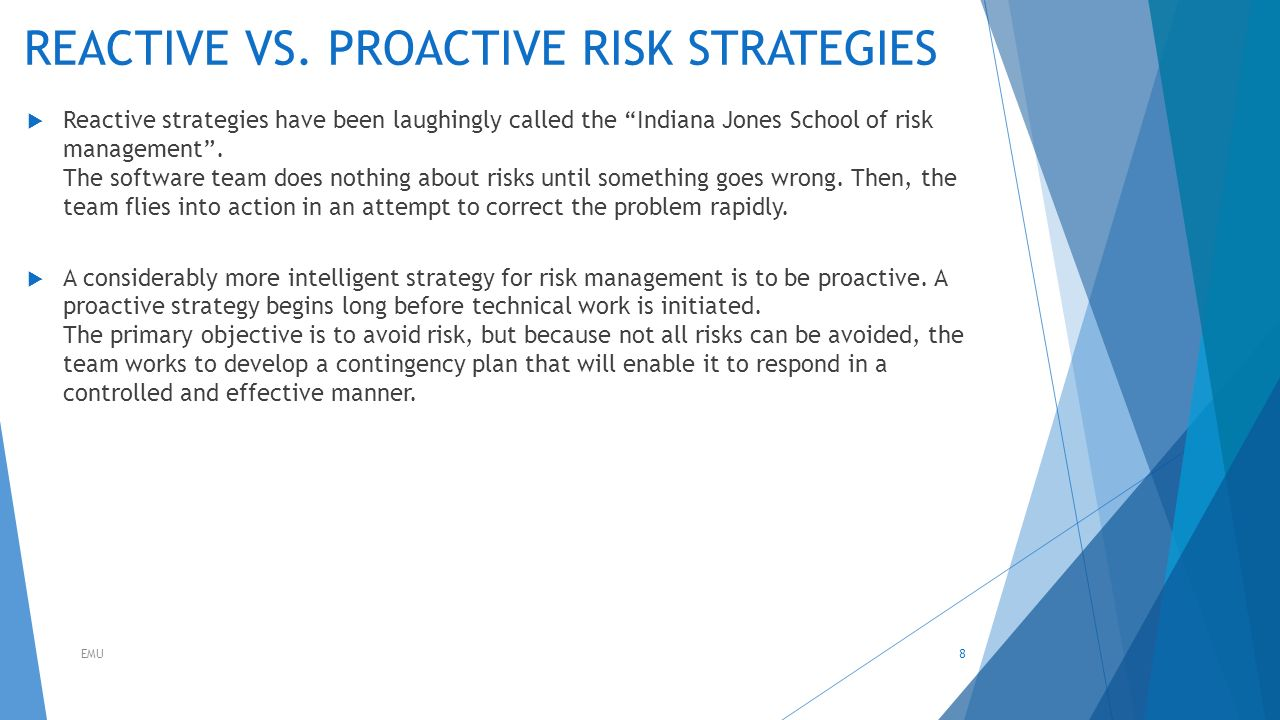 issues that could have development has the team not has a risk plan No you can use risk planning to identify potential problems that could cause  trouble for  some companies and industries develop risk checklists based on   the other company has expertise and experience the project team does not have.