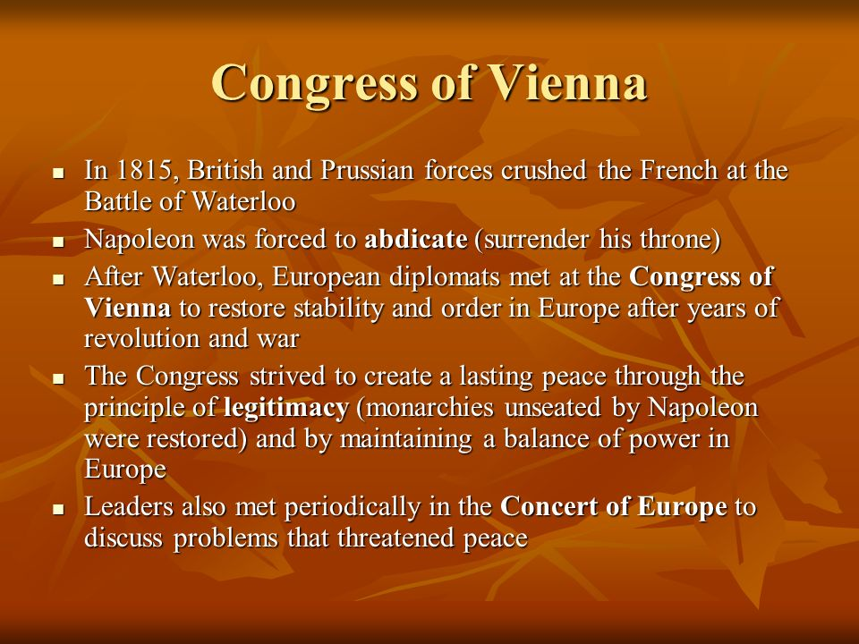 congress of vienna essay questions The congress of vienna, the organizing conference of coalition against napoleon and france, was a major building block in the future of europe for years to come.