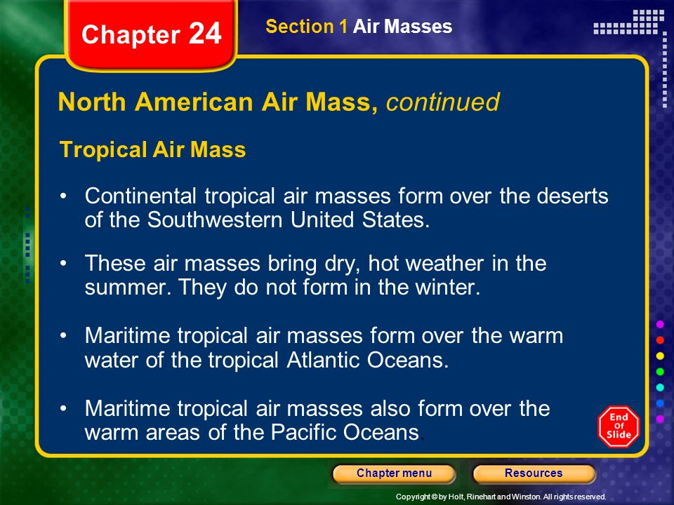 Chapter 24 Table of Contents Section 1 Air Masses Section 2 Fronts ...