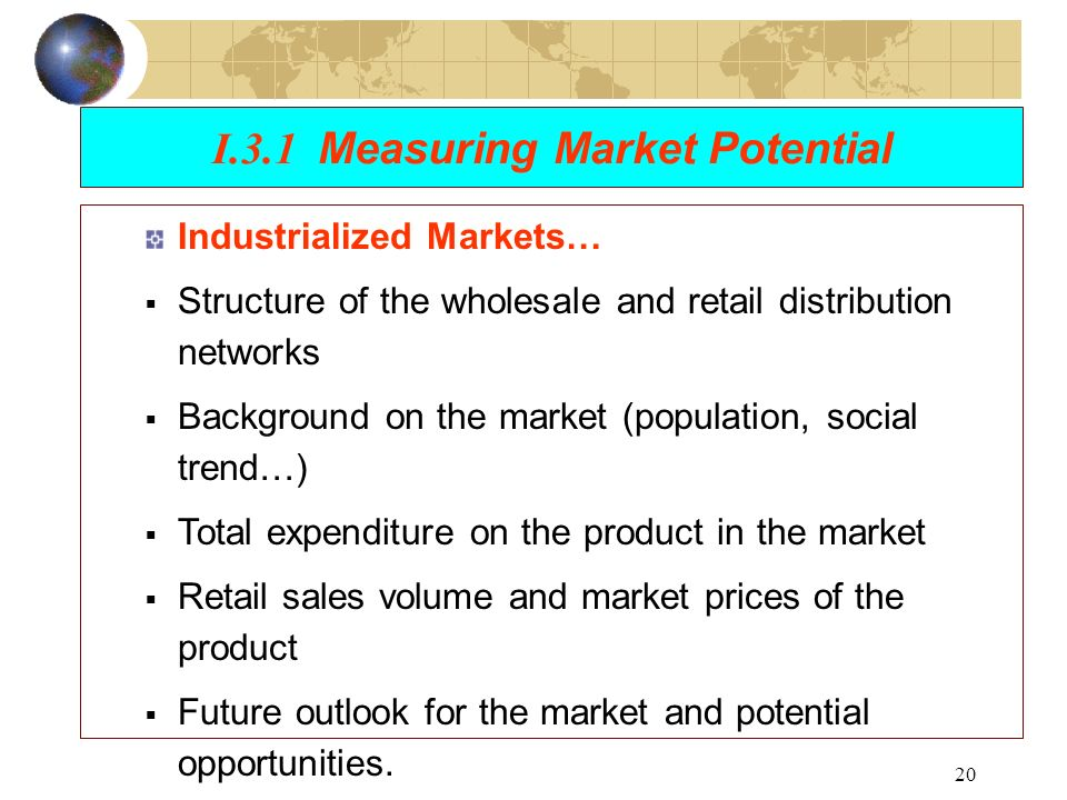 measure market potential Measuring stock market shortcomings of trs by employing complementary measures of stock market in line with its value creation potential.