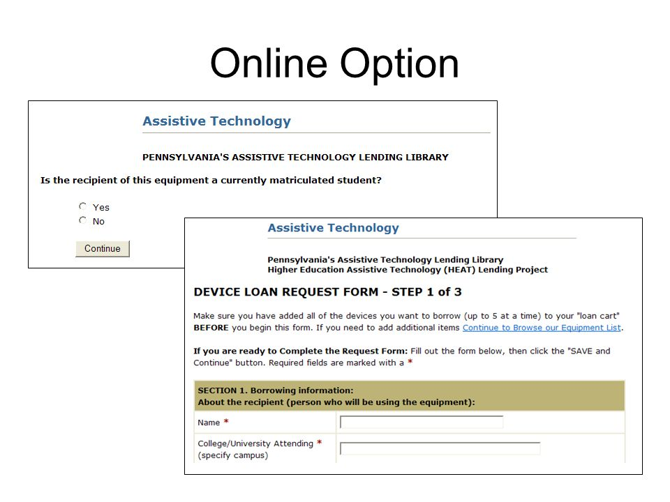 17 Online Option. Online Option. 18 Loan Request Form ...