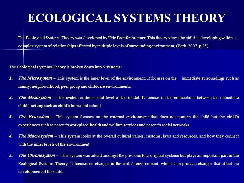the four levels of bronfenbrenner s model Urie bronfenbrenner and his ecological systems the theory was comprised of four levels and later more about urie bronfenbrenner and his ecological systems.