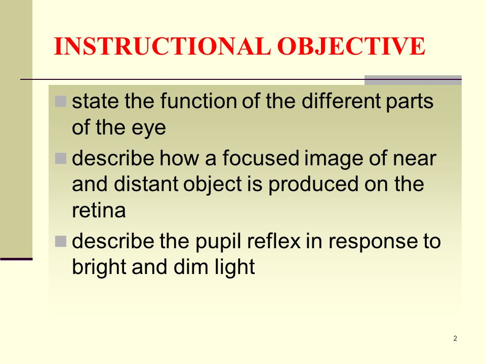 INSTRUCTIONAL OBJECTIVE