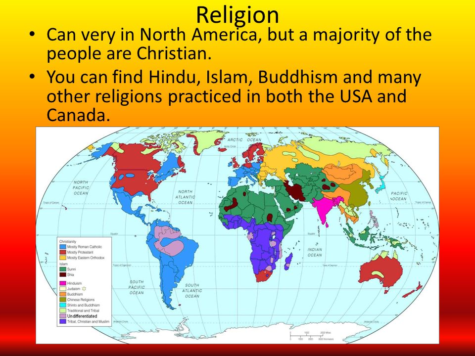 The Culture Of North America Ppt Download - Usa religion map