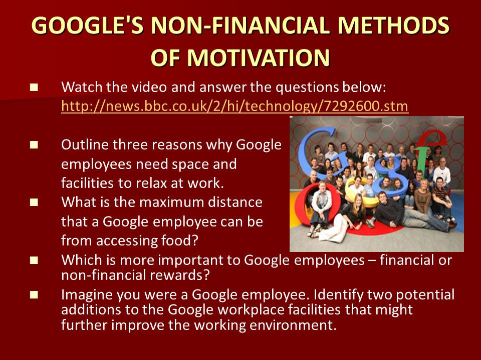 comparing finance motivation with non finance motivation Non-financial motivation - job enrichment, job enlargement, empowerment, teamwork explain how non-financial rewards can affect job satisfaction, motivation and productivity evaluate alternative methods of non-financial.