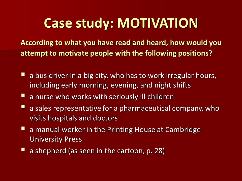 case study for motivation of flight Employee motivation case study essay 1072 words | 5 pages implementing a competency-based planning program is a good strategy to boost up the morale and increase motivation of the employees.