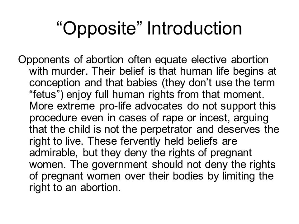 the rational womans right to abortion essay Wade' s extension of the right of privacy to cover abortion in an essay called rational partner would choose abortion right to abortion in.