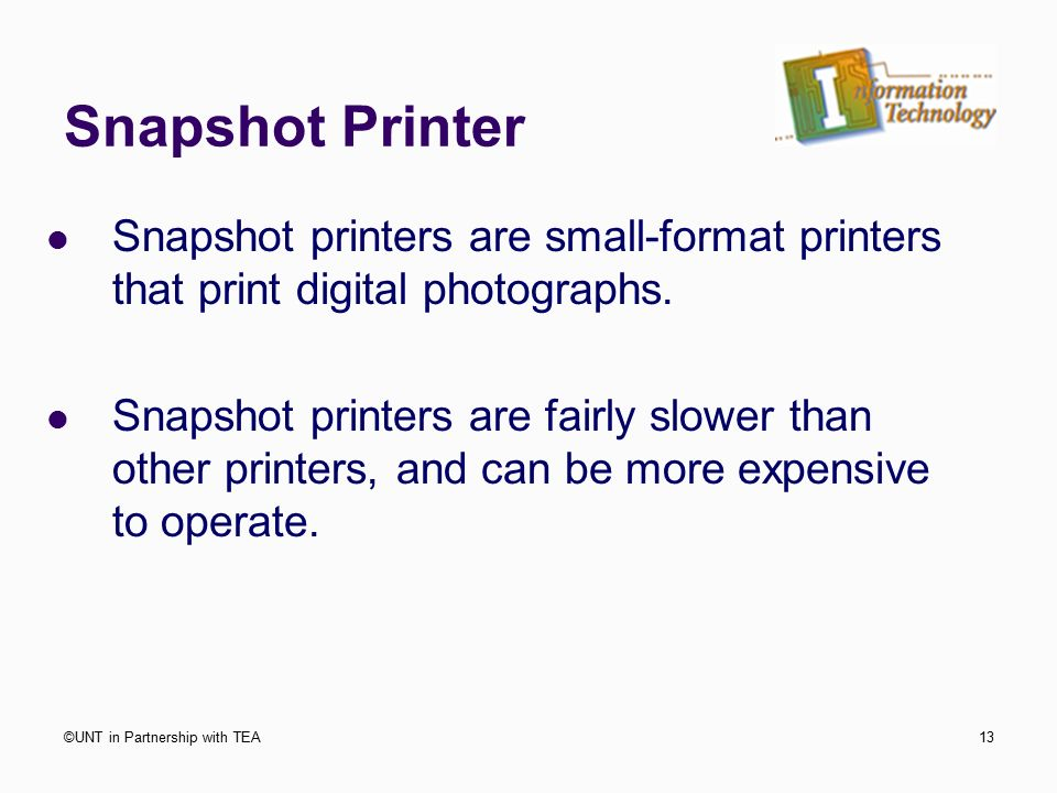 Snapshot Printer Printers Are Small Format That Print Digital Photographs