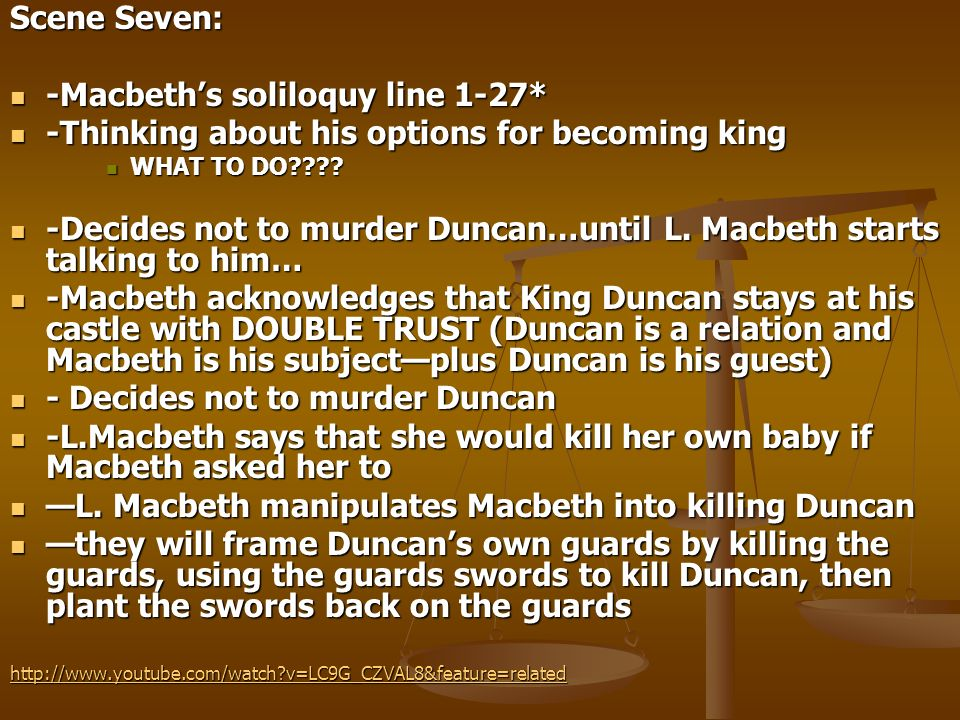 the soliloquy of macbeth Macbeth's soliloquy - is this a dagger which i see before me (21) please click on the text for commentary is this a dagger which i see before me, the handle toward my hand.