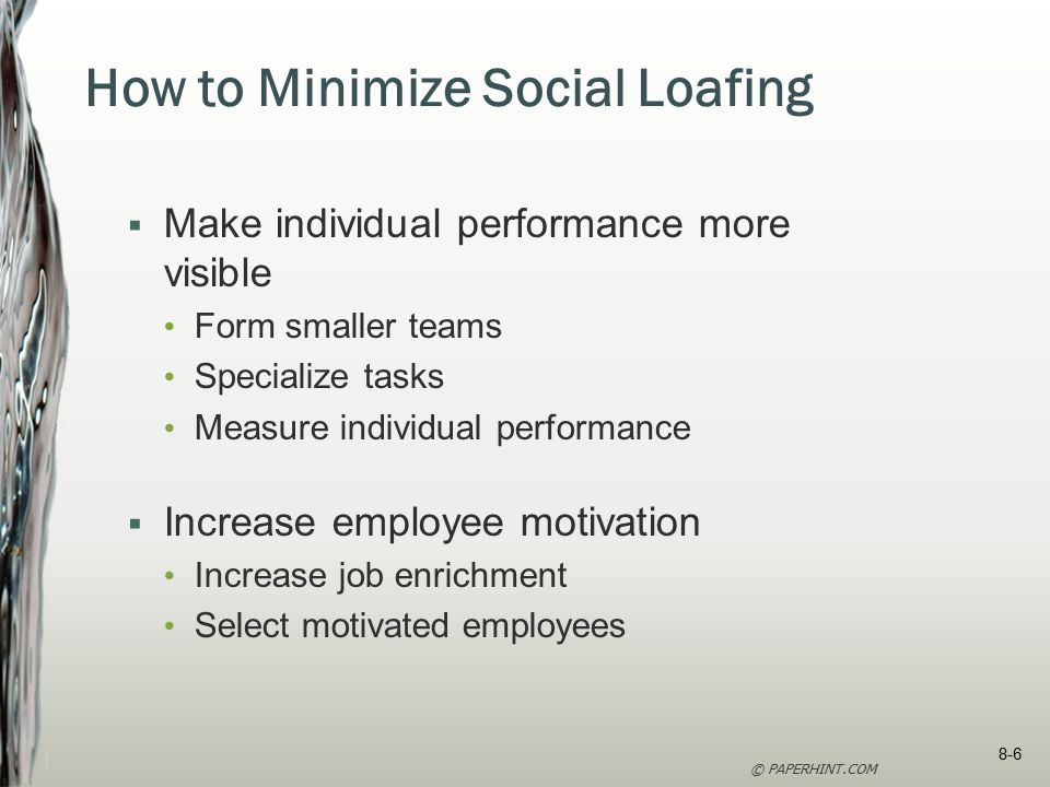 how to avoid social loafing in teams