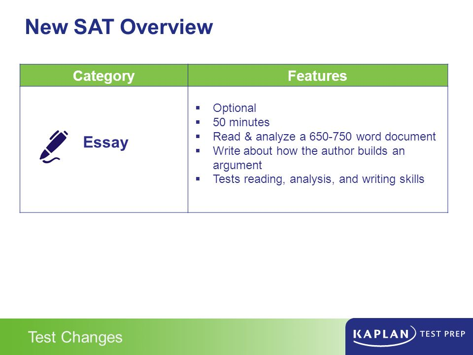sat essay overview Course summary prepare for the sat with this self-paced, online prep course our engaging video lessons and self-assessment quizzes help you get ready for each section of the sat and practice.