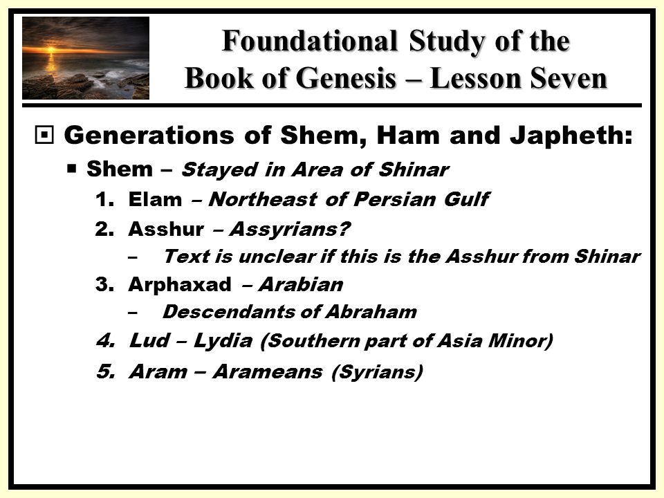 a study on the generations and society of genesis After many generations of adam have passed from the lines of cain and seth, the world becomes corrupted by human sin and nephilim, and god determines to wipe out humanity first, he instructs the righteous noah and his family to build an ark and put examples of all the animals on it, seven pairs of every clean animal.
