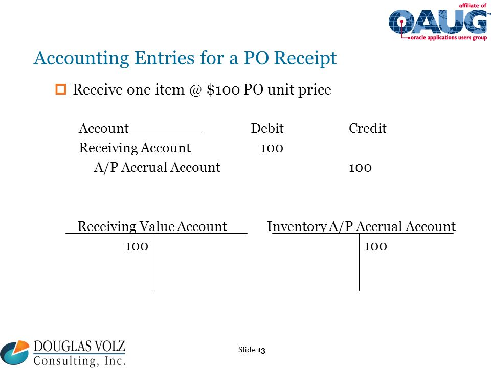 Oracle R12 AP Accruals OAUG Cost Mgmt SIG Meeting March 15 ppt – Receiving Receipt