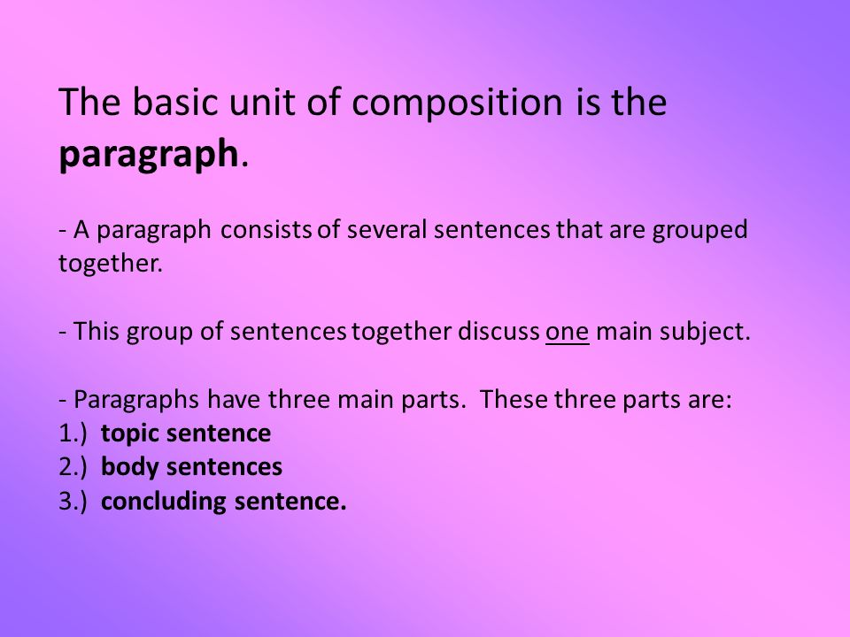 an essays body paragraphs are similar to which part of a paragraph In academic essays, introductions and conclusions are the first and last  impression of your paper – much like in real life, you should always leave a good   the 3 parts of an  essay - suggests the topic for each body paragraph ( for short or 5-  given the thesis statement below, how many paragraphs do you  expect in.